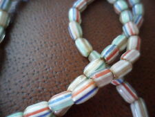 VINTAGE OLD AFRICAN ETHNIC TRIBAL CHEVRON GLASS BEAD TRADE FIBER NECKLACE