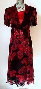 EASTEX satin DEVORE SILK blend red & black floral party / formal dress 10 36 NEW