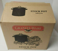 Graniteware Black and White Speckled Stock Pot w/ Lid 12 Qt. Made USA in Box New
