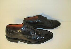 "NUNN BUSH ""Pli-Matic"" Vintage Wingtip  V-Cleat Black  Leather Dress Shoes-Sz-11C"