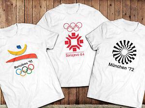 Vintage Olympics TShirt, Barcelona 92, Sarajevo 84. Munich 72, retro Olympics