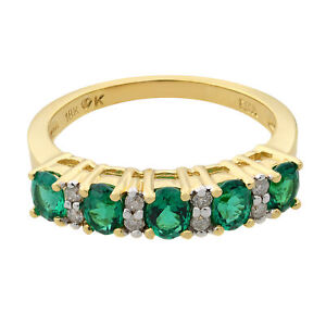 Rachel Koen 18K Yellow Gold Five Stone Emerald and Diamond Wedding Band SZ 7