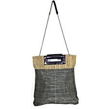 Jo Square Tote Bag Shoulder Strap Purse Woven Vinyl and Burlap Leather