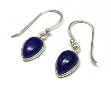 Handmade in 925 Sterling Silver, Real Lapis Lazuli Pear drop Drop Earrings & Box