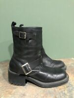 UNLISTED WOMEN'S BLACK LEATHER CHUNKY HEEL PULL ON ANKLE BOOTS SIZE 6.5