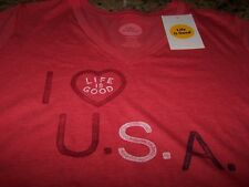 Life is Good HEART USA Blended Vee S/S T-Shirt POPPY RED Women's Large ~ NWT $28