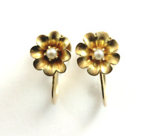 Antique Victorian Petite Pearl Flower Earring 10k Yellow Gold Screw Back