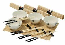 16pc Chinese Dining Set 4 White Porcelain Bowls 4 Bamboo Mats 4 Bamboo Chopstic