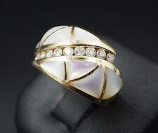 Kabana Classic 14k Yellow Gold Diamond MOP Inlay Ring Size 7.25 KBN Box RG1038