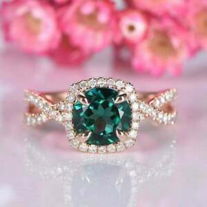 2Ct Round Cut Green Emerald Twisted Halo Engagement Ring 14K Rose Gold Finish