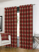 THICK DELUXE THERMAL WINE TARTAN CHECK MODERN RING TOP EYELET HUGO CURTAINS