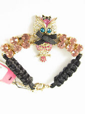 "Betsey Johnson ""Enchanted Forest"" Owl Rhinestone Chain Rope Bracelet 8"""