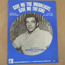 song sheet GIVE ME THE MOONLIGHT GIVE ME THE GIRL, Frankie Vaughan