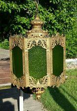 Mid Century Modern Arabian Fantasy Gothic Green Glass Hanging 6 Sided Swag Lamp