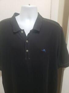 Tommy Bahama Mens XLT Black Emfielder Supima Short Sleeve Polo Shirt