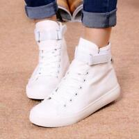 Womens Round Toe Sports Shoes Ankle Boots High-top Lace-up Flat Casual Sneakers