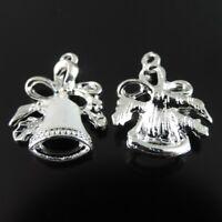 20pcs Silver Color Alloy Enamel Christmas Bell Charms Pendants Findings 38903
