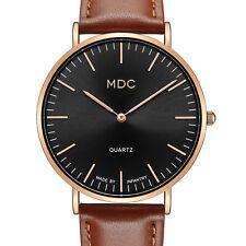 Reloj de pulsera MDC Caballeros Cuarzo Analógico para hombre vestido de moda Ultra Delgada de Cuero Marrón