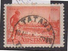(POF-99) 1934 AU VIC 2d Victorian centenary P/O TATANA