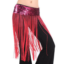 8 Colors Belly Dance Outfit Costumes Fringe Tassel Hip Scarf Belt Skirt Sequins