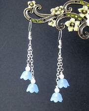 Pretty Blue and White Flowers Dangly Drop Earrings