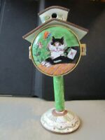 Enameled Postage Stamp Roll Holder Rare by Kevin Chen Relaxed Cat Birdhouse