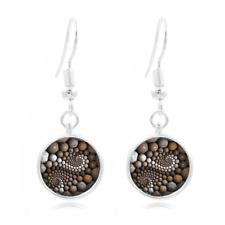 Zen Stones Photo Tibet Silver Dome Photo 16MM Glass Cabochon Long Earrings#210