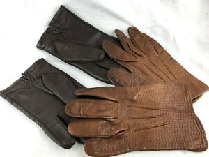VINTAGE - 2 PAIRS OF OLD LEATHER GLOVES - ONE IS SIZE 3 1/2