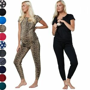 HAPPY MAMA Women's Maternity Loungewear Nursing Pyjamas Underbump Pants 1032