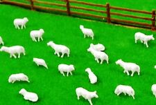 30 SHEEP 4 realistic poses No Base 12mm + sheep dogs white plastic HO 1/87 scale
