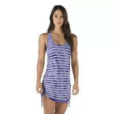 NWT $44 Speedo Womens Tie Dye Stripe Shirred Cover Up, Black/grey, Size Small
