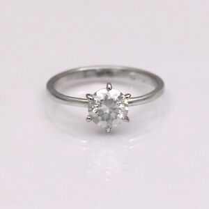 0.90 Carat Moissanite Solitaire Statement Ring Engagement 925 Sterling Silver
