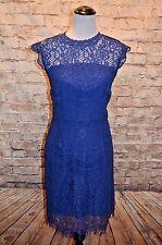 Modcloth Social Soiree Dress Blue lace sheath NWOT M Sapphire fringe illusion