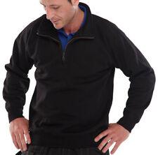 Click Black 1/4 Zip Mens Sweatshirt Jumper Smart Work Uniform Builders Tradesman