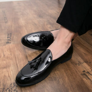 New Mens Fashion patent leather Slip On Loafers pointy toe dress formal Shoes