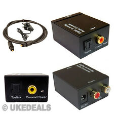Converter Adapter Digital Optical Coax Toslink Signal to Analog Audio Rca R/L Uk