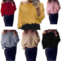 Ladies Off Shoulder Sweater Knitted Oversize Chunky Knit Long Sleeve Jumper Top