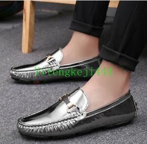 Mens Casual Flat Slip On Metal Decor Patent Leather Shoes Loafers moccasin New Y