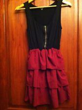 Womens Dress UK 10 Burgundy & Black Flamenco Style Skirt (B32)