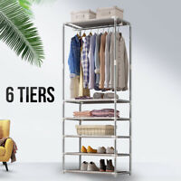 6 Tiers Expandable Closet Organizer Clothes Hanger Rod Garment Shoe Rack Shelves