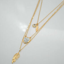 Fashion Gold Plated Three Layers Zircon White Turquoise Feather Pendant Necklace