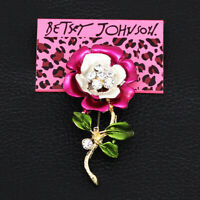 Betsey Johnson Women's Enamel Crystal Flower Charm Party Prom Brooch Pin Gift