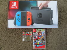 NEW Nintendo Switch 32gb Neon 32gb Console+Super Mario Odyssey bundle lot system