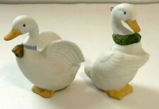 Homco Home Interiors 5255 Set Of 2 Duck Christmas Tree Ornaments ~ Wreath & Bell
