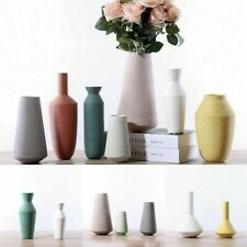 Decorative Matte Ceramic Ribbed Flower Vase Porcelain Table Centerpiece Display