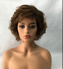 100% Real Hair ! Beautiful Sexy Light brown Short Curly Wig Human Hair