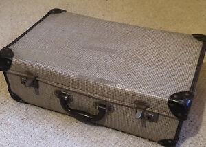 Brown Check Vintage Suitcase