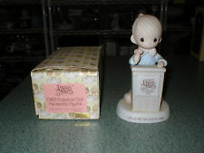 Precious Moments 1983 Let Us Call The Club To Order Figurine #E-0303 Boy Podium