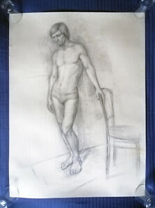 Male study vintage Russian drawing sketch 1960s 1970s nude standing man body