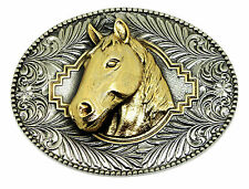 Horse Head Belt Buckle 3D Animal American Western Authentic White Wolf 24ct Gold